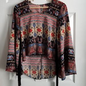 Boho Fringed Sleeves High Low Patterned Top